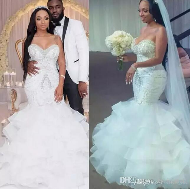 Plus Size Mermaid Wedding Dresses with Crystals