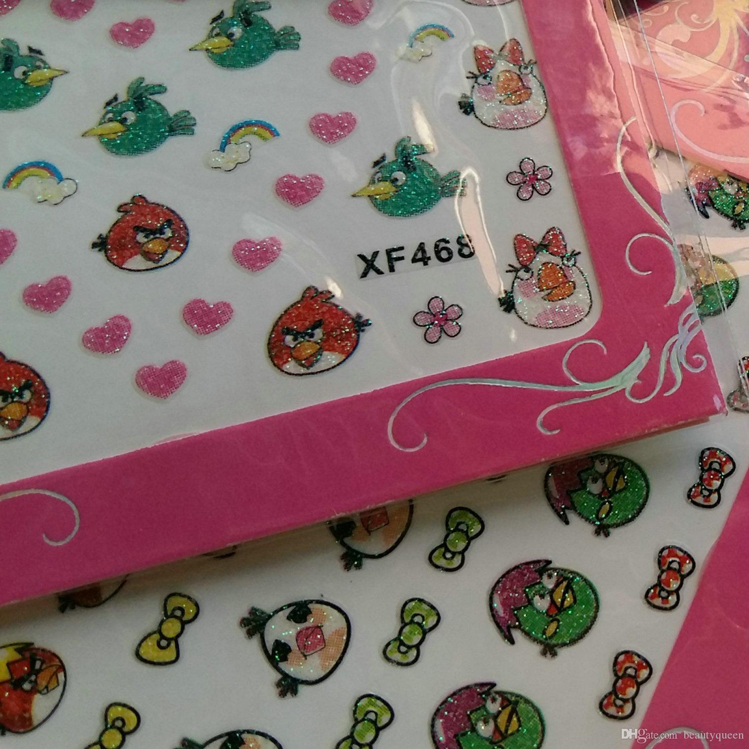 * 120pcs / lot * 24 stile anime del fumetto nail art sticker uccelli uccelli gioco disegni carini nail transfer decalcomanie decalcomanie punte di punta 3d decorazione di scintillio