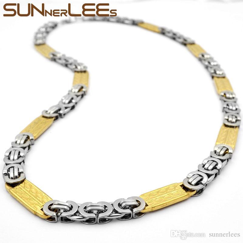 SUNNERLEES Modeschmuck Edelstahl Halskette 9mm Geometrische Byzantinische Gliederkette Silber Gold Für Männer Frauen SC109 N