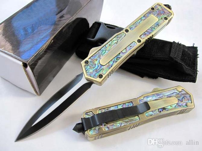 DHL доставка Золотая Ручка авто тактический нож 440C 58HRC черный клинок 5 моделей EDC карманный нож подарочные ножи с нейлоновой сумкой Рождественский подарок
