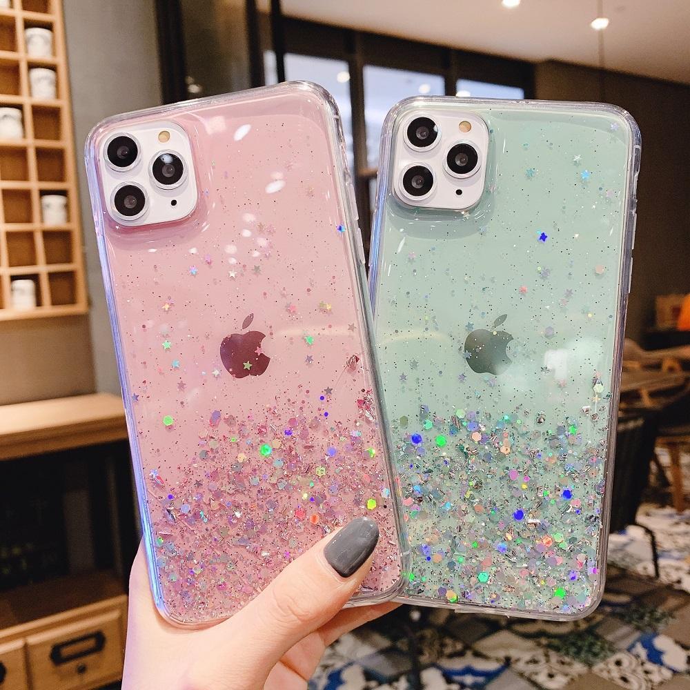 Brillo Bling Lentejuelas cajas del teléfono de iPhone SE 2020 11Pro Max Max XS XR X 8 7 6 6S Plus estático arena movediza translúcido suave de la cubierta de TPU