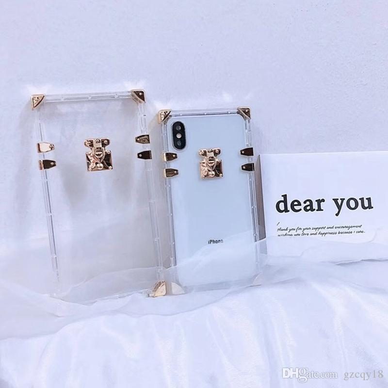 Clear Square Case for iphone 11 Pro Max X XS MAX XR 8/7 6 6s Plus Transparent Luxury Phone Cases Back Cover