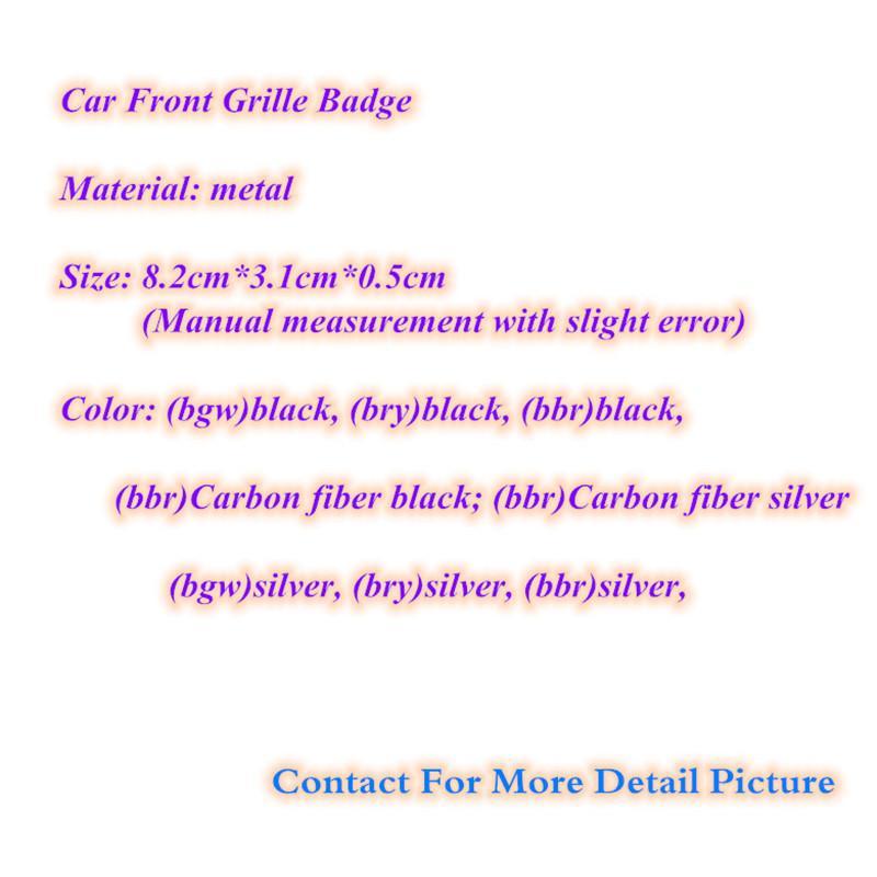 [Hot Sell] Car Styling 8.2 * 3.1cm Zink-Legierung Emblem Frontgrill Abzeichen Grille Logos Aufkleber Silber schwarz für M3 M5 M6