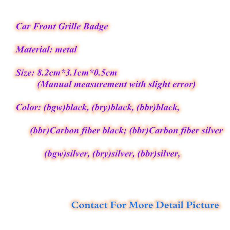 [Горячий продавать] Автомобиль Styling 8,2 * 3.1cm сплава цинка Эмблема передняя Грили знак решетки Логотипы Наклейка Silver Black Для M3 M5 M6