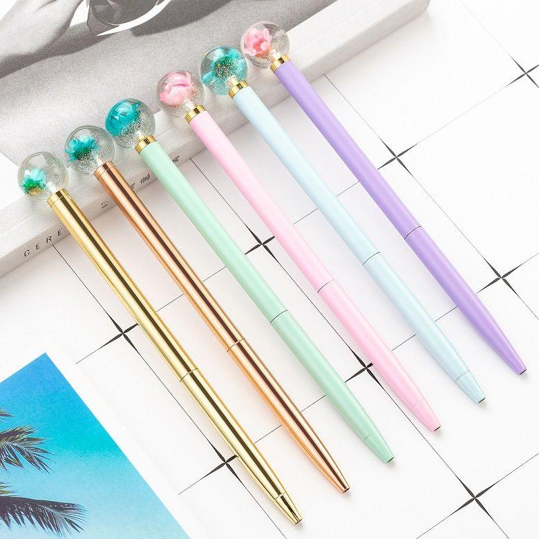 Wholesale Fashion Design Metal Twist Pen Creative Decorative Dry Flower Ball Point Pen Ins Mild Pastel Colors Cheap Cute Pretty Pen for Girl