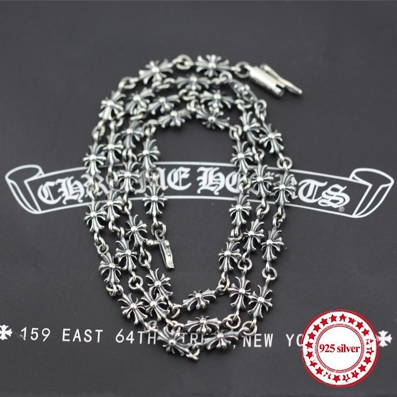 S925 Sterling Silber Collier Kabelkette einfaches Kreuz klassisches Zubehör lange herrschsüchtig Paar ein Geschenk zum Geliebten schicken