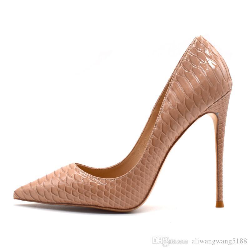 2020 mujeres de boda atractivo manera de la señora libre del envío de serpiente pitón Patente desnuda cuero dedos de los pies zapatos de los talones de estilete Poined tacón alto BOMBAS