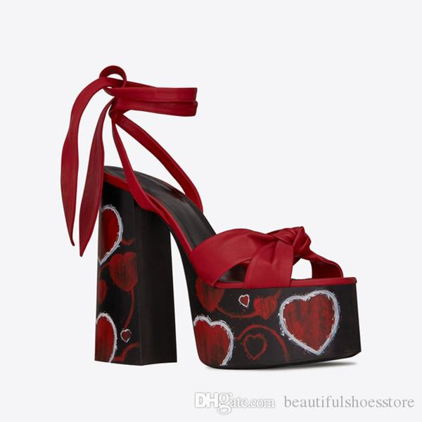 Summer Runway Black Red Brown Golden Leather Knotted Platform Sandals Women Sexy Open Toe Block High Heels Ankle Strappy Party Dress Shoes