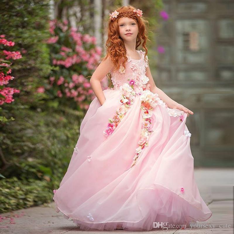 Fairytale Baby Fleur Rose Filles Robes Scoop Dentelle Fleurs à la main Tulle Organza Robe Boule Boho Little Filles Robe de mariée Robe de pageant