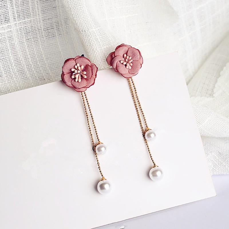 Fashion-New Fashion Women Jewelry Sweet Acrylic Shell Tassel Earrings Temperament Frosted Petal Crystal Flower Long Pendant Earrings