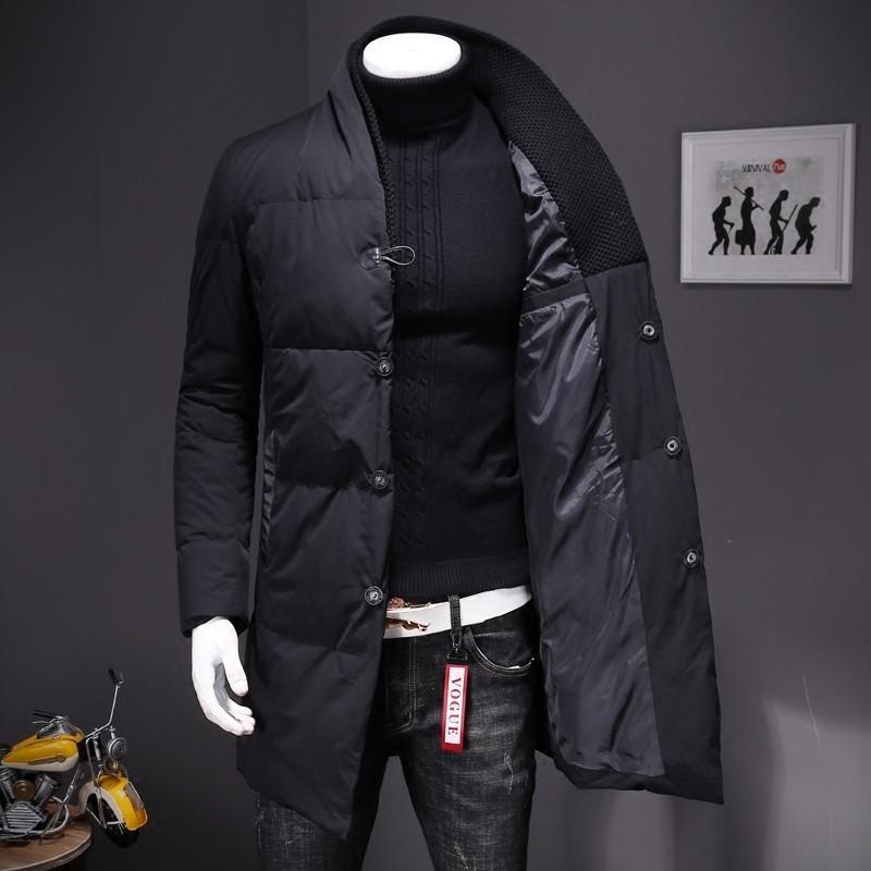 Collar del soporte del invierno caliente para hombre longitud media luz de Down de manga larga solo pecho Casual Tamaño de abrigo abrigos Plus 5XL
