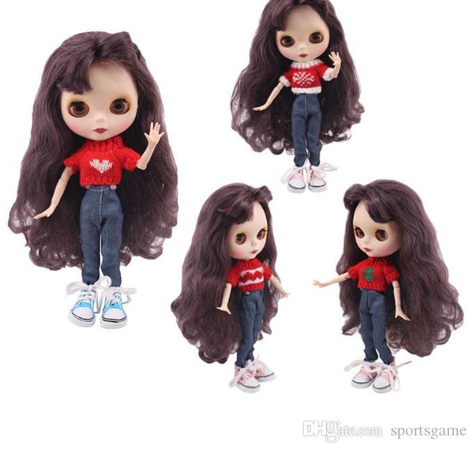 Blyth da roupa da boneca 15 estilos 1 Set Clothes = camisola + Jeans para BJD 30 cm para Geração Toy Natal `s da menina 1/6 Blyth Doll Dress