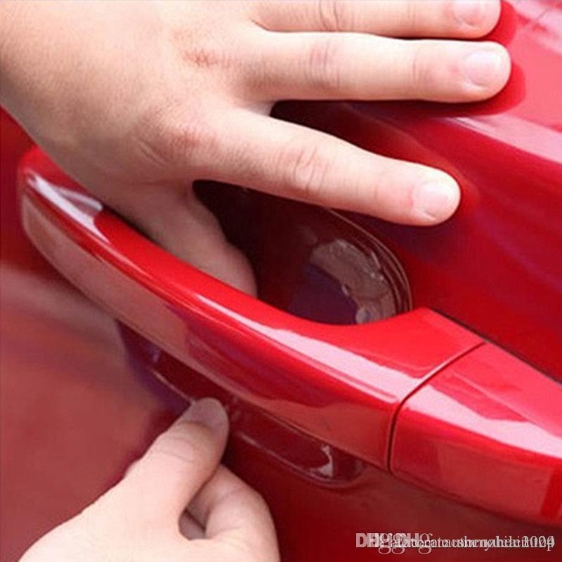 4PCS السيارات التصميم ملصقات سيارة مقبض الباب خدش حامي فيلم واقية ملصق الفينيل للسيارات كروز أوبل مازدا بيجو