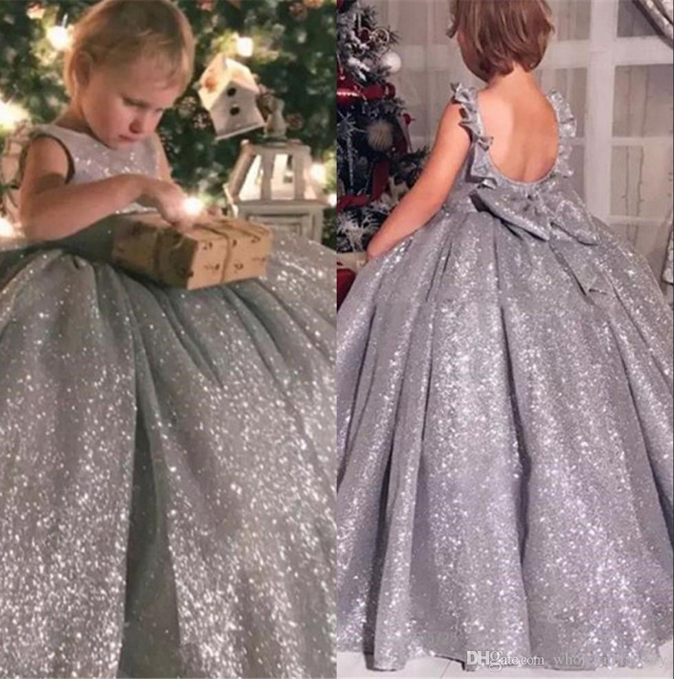 Nieuwe Grijze Sparkly Sequined Flower Girls Jurken Crew Neck Low Back A Line Toddler Towns Pageant First Communion Draag BC2049