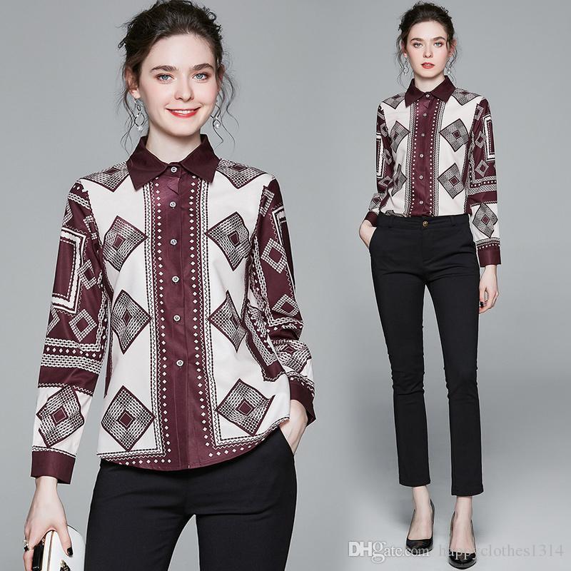 Neue Qualität gedruckte Frühlings-Shirts Frauen Langarm-Revers-Ansatz beiläufige Damen Runway Knopf Hemd Blusen elegantes Büro Designer Shirts