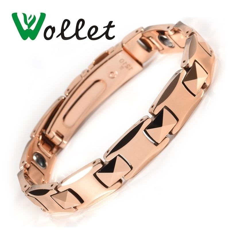 Wollet Jewelry Health Care Healing Energy Tungsten Bracelet Bangle For Women Men Rose Gold Color Solid Germanium Hematite Y19051101