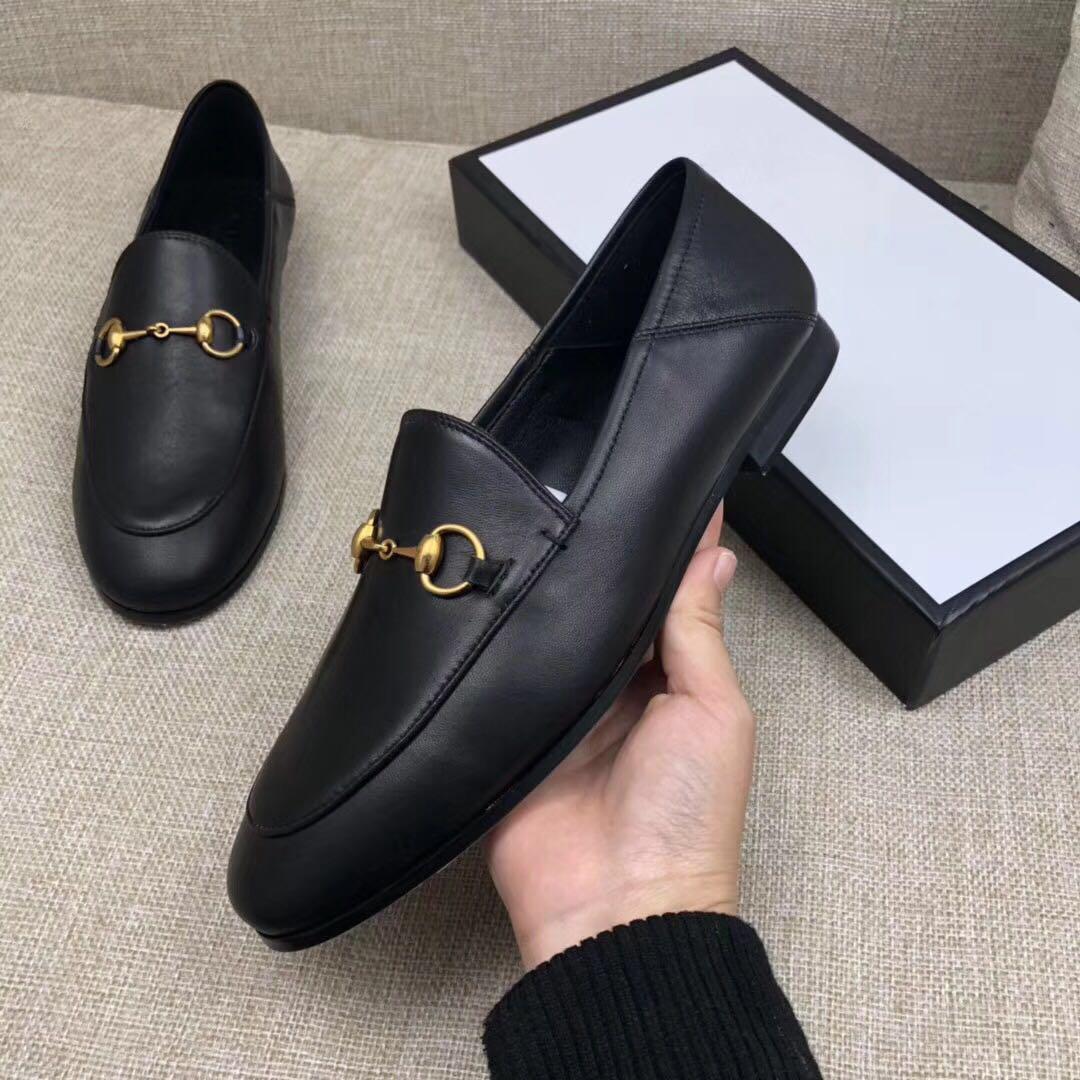 Горячая Продажа-Flat подошвы повседневной обуви Аутентичной коровьего металл пряжка Женской обувь кожа мужчины женщина Растаптывание роскошная Ленивая обувь 46