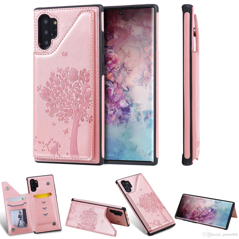 PU Deri Cüzdan Kılıf için Samsung Galaxy Note 10 / Note 10 Artı Darbeye Kart Yuvası Kickstand Kabartma Kedi ağaç Telefon Arka Kapak
