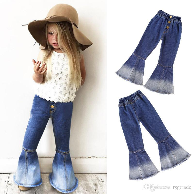 3 Colors Fall INS New Autumn Kids Girls Trousers Jeans Casual Fashion Blank Front Buttons Pockets Vintage Elastic Waist Children Pants