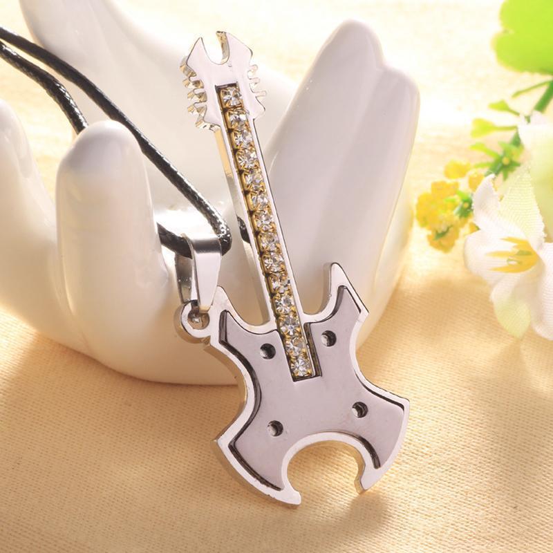 Joyería de moda collar circonio cúbico guitarra para los regalos eléctricos amantes de la guitarra