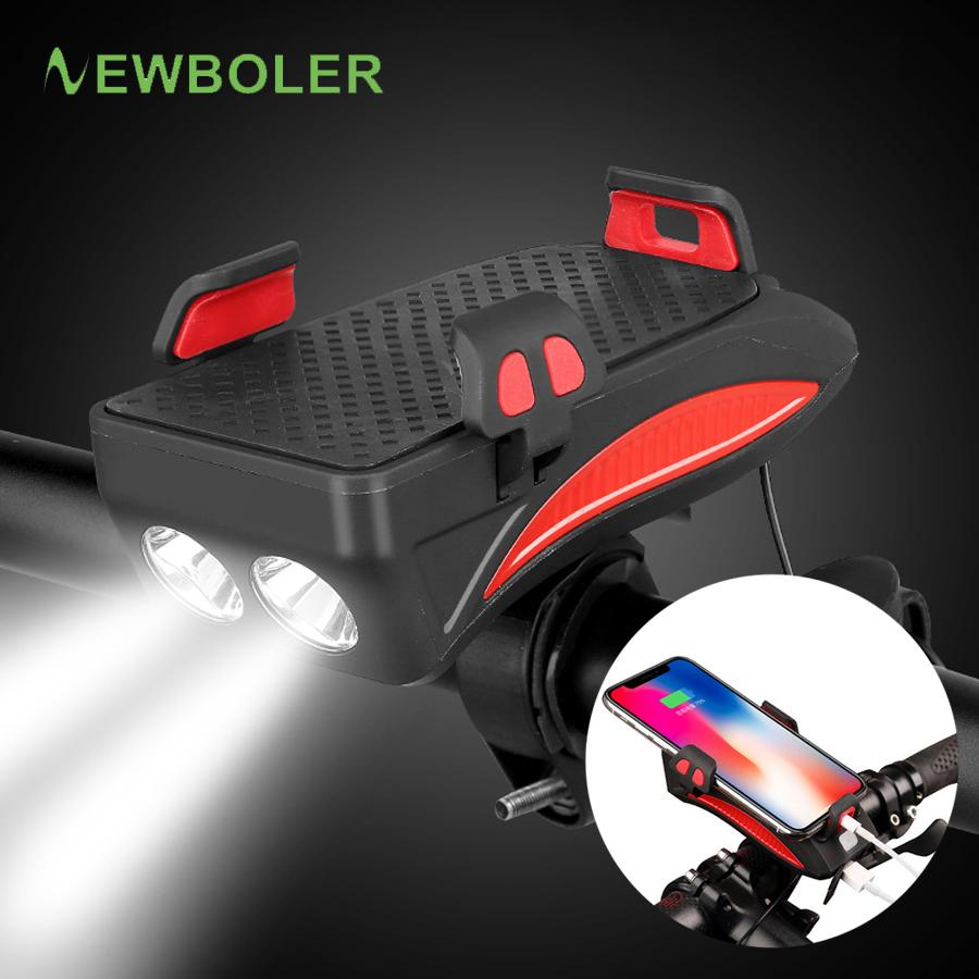 Newboler Bicycle Power Bank Light USB Porta telefono ricaricabile Holder Bill Bike Faro 4000 mAh Cycling Horn LED Light