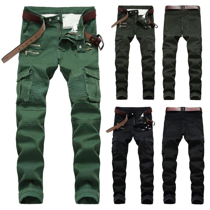 Mode Hommes Skinny Jeans Denim Pantalon extensible Pantalon stretch Slim Fit Casual Long Hommes