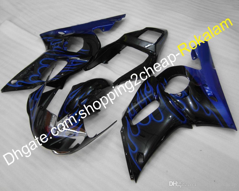 COWLING Set for Yamaha Feeterias YZF600 R6 1998 1999 2000 2001 2002 YZF-R6 YZFR6 Azul Chamas Body Body Abs Beeting Kit (moldagem por injeção)