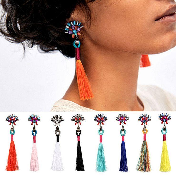 Toptan Küpe Moda Kadınlar Marka Yeni Bohemia Yüksek Kalite Renkli Rhinestone Uzun Püsküller Dangle Avize Takı LER029