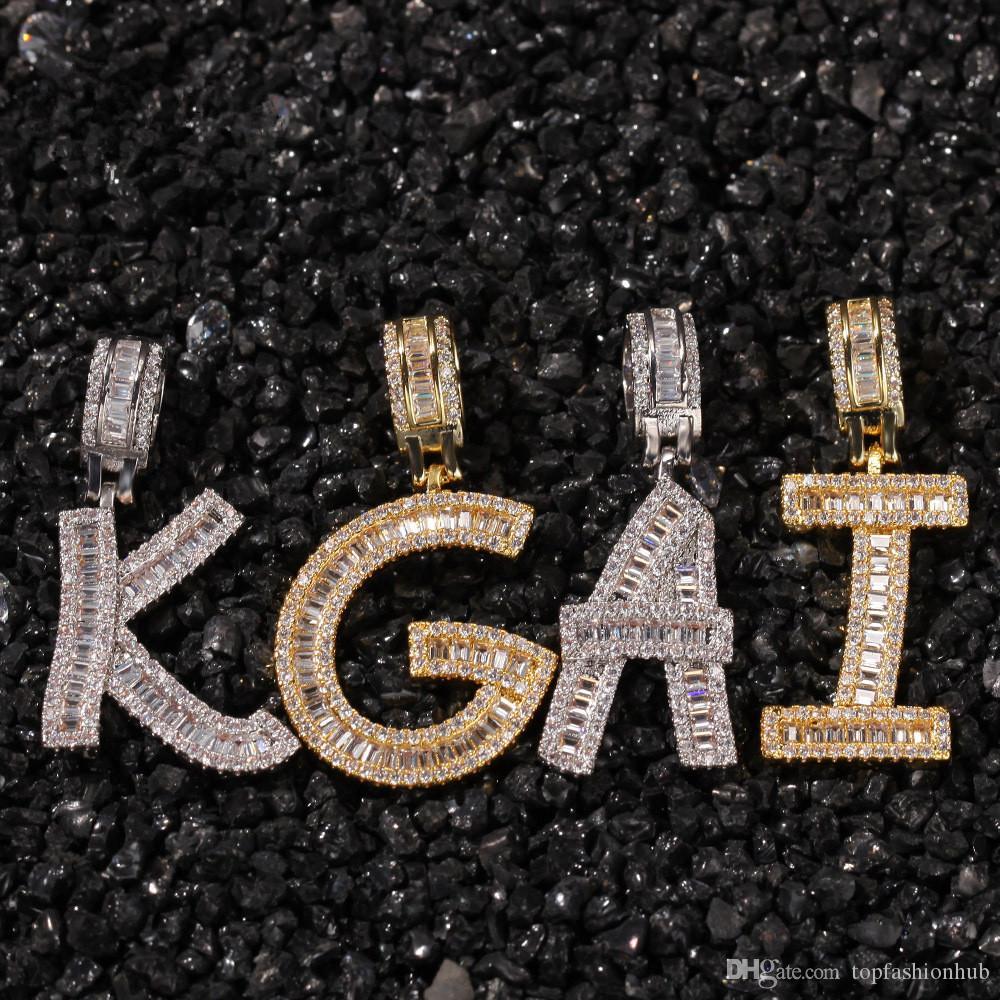 Hip Hop Micro Pavimentada Quadrado CZ Cubic Zirconia Bling Iced Out Carta Pingentes Colar para Homens Rapper Jóias Colar de Prata de Ouro