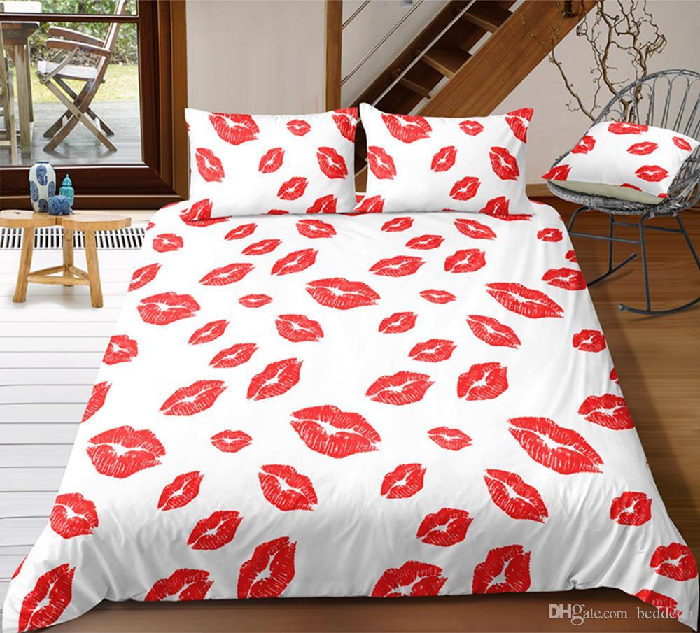 الملكة الحجم الفراش مجموعة أحمر شفاه بسيط مثير حاف عصري الغلاف الأبيض الملك التوأم كاملة واحدة مزدوجة غطاء سرير مع مل 3pcs المخدة