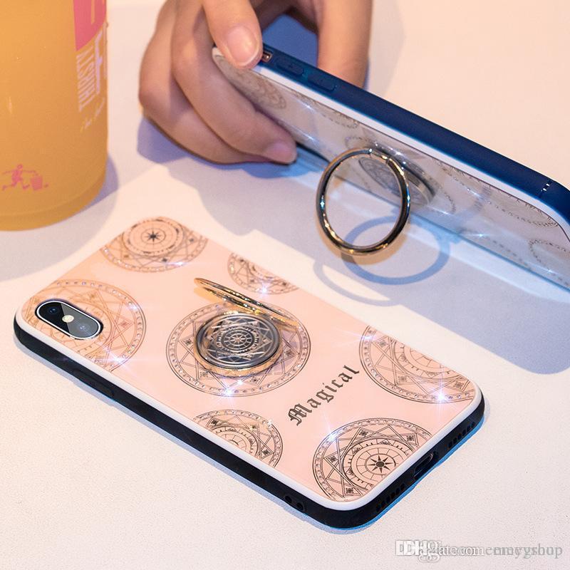 Para iphone 11 Titular pro X XR XS Max Phone Case 3D Diamond Ring chapeamento macio TPU Glitter Bling capa para o iPhone 6 6s 7 8 além de Coque