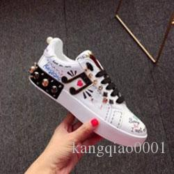 2020 new style brand sports shoes women Song Yi Di Li hot bar with the shoes hip hop graffiti banquet white shoes n00239