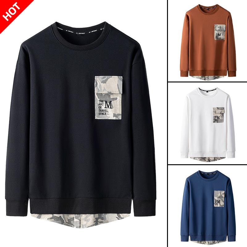 Fake Two Pieces Men's Sweatshirts Camouflage Patchwork Men's Sweatshirts O-Neck Black Blue White Brown Long Sleeve Pullover