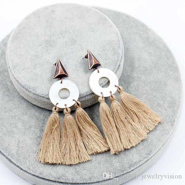 Горячие Чешские Модные Ювелирные Изделия женские Старинные Серьги Shell Круг Кистями PUNK Мотаться Серьги Стержня S507