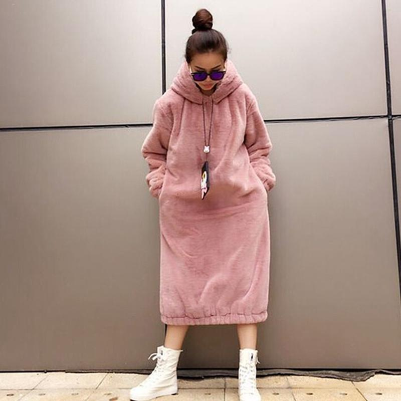 2018 New Winter Fashion Women Faux fur Coat Fur Hair Super long Set Head Fleece Long Skirt Black Pink Warm Loose Hooded