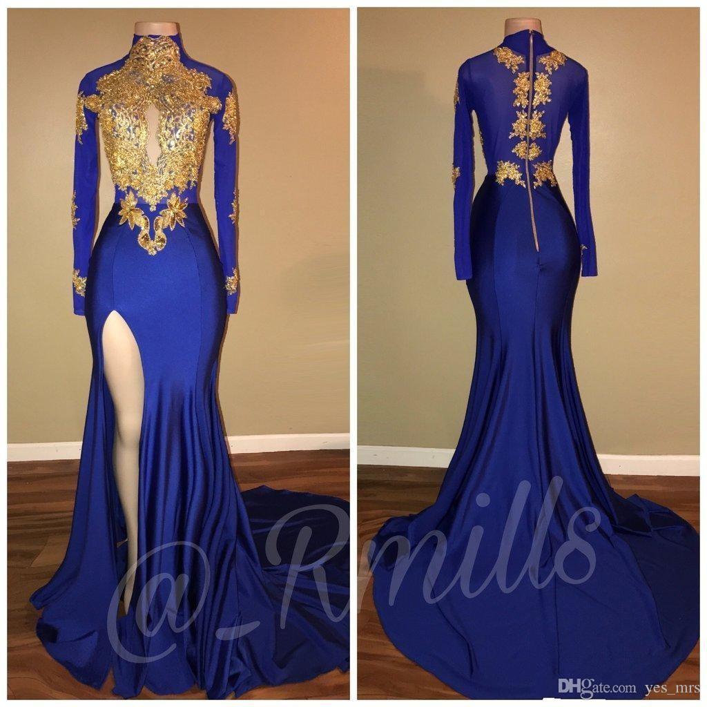 2020 Nuevos vestidos de fiesta de sirena azul real árabe caliente Apliques dorados de cuello alto Mangas largas Vestidos de noche formales de alta división para niñas negras