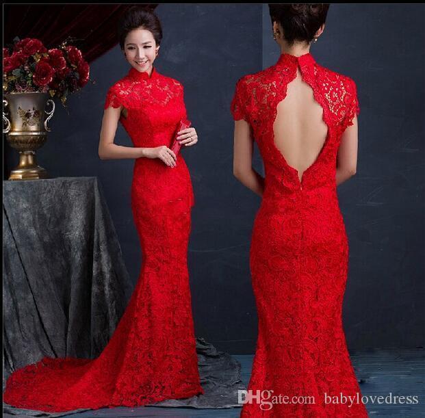 Rote Spitze Meerjungfrau Abendkleider Chinesische Partykleider Lange Seide Dünne Cheongsam Kleider Verbesserte Red High Collar Backless Brautkleider