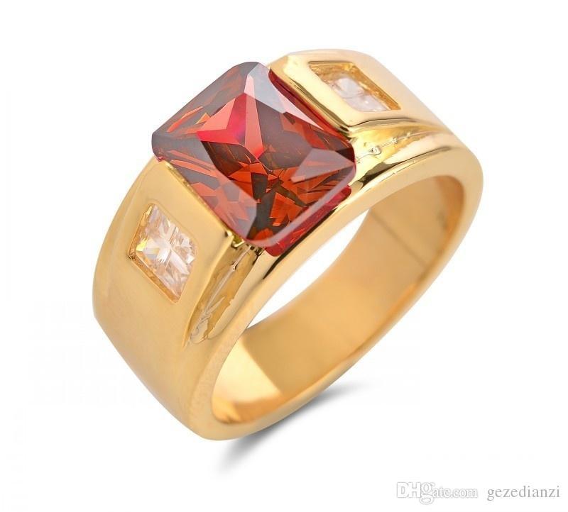 18K الذهب الأصفر معبأ الأحجار الكريمة 4 لون للأزياء الرجال خاتم الخطوبة خاتم الزواج الحجم 7-14