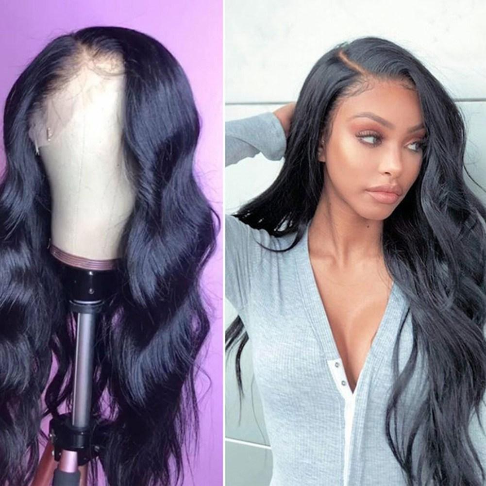 유럽과 미국의 숙녀 기질은 자유롭게 큰 물결 모양의 긴 곱슬 머리 푹신한 검은 색 전면 레이스 화학 섬유 가발 가발로 구분