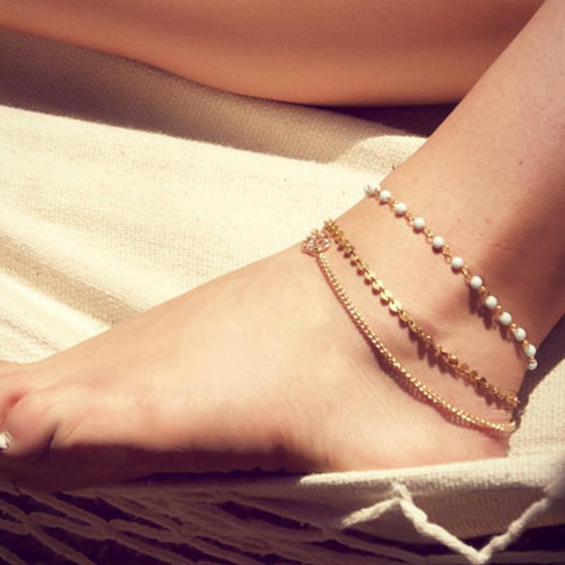 Boemia di modo semplice a più strati in rilievo Handmade Paillettes piedi nudi Catena Beach Vacation Accessori Cavigliere