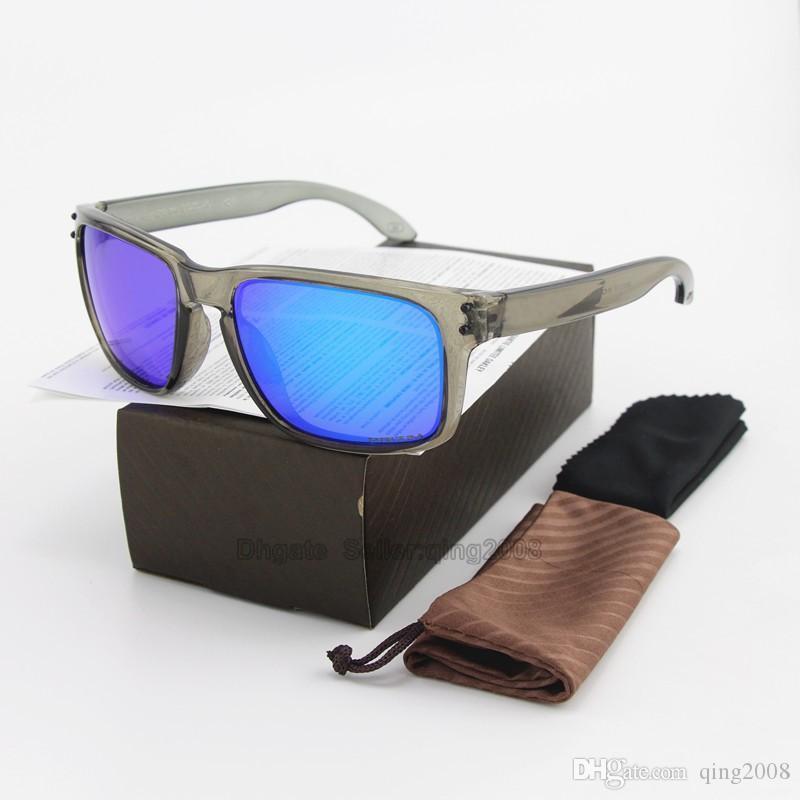 NEUE Art und Weise polarisierte Sonnenbrille Männer Outdoor-Sport-Frauen Grau Transparente Rahmen UV400 Blau Spiegel Sonnenbrille mit Kasten