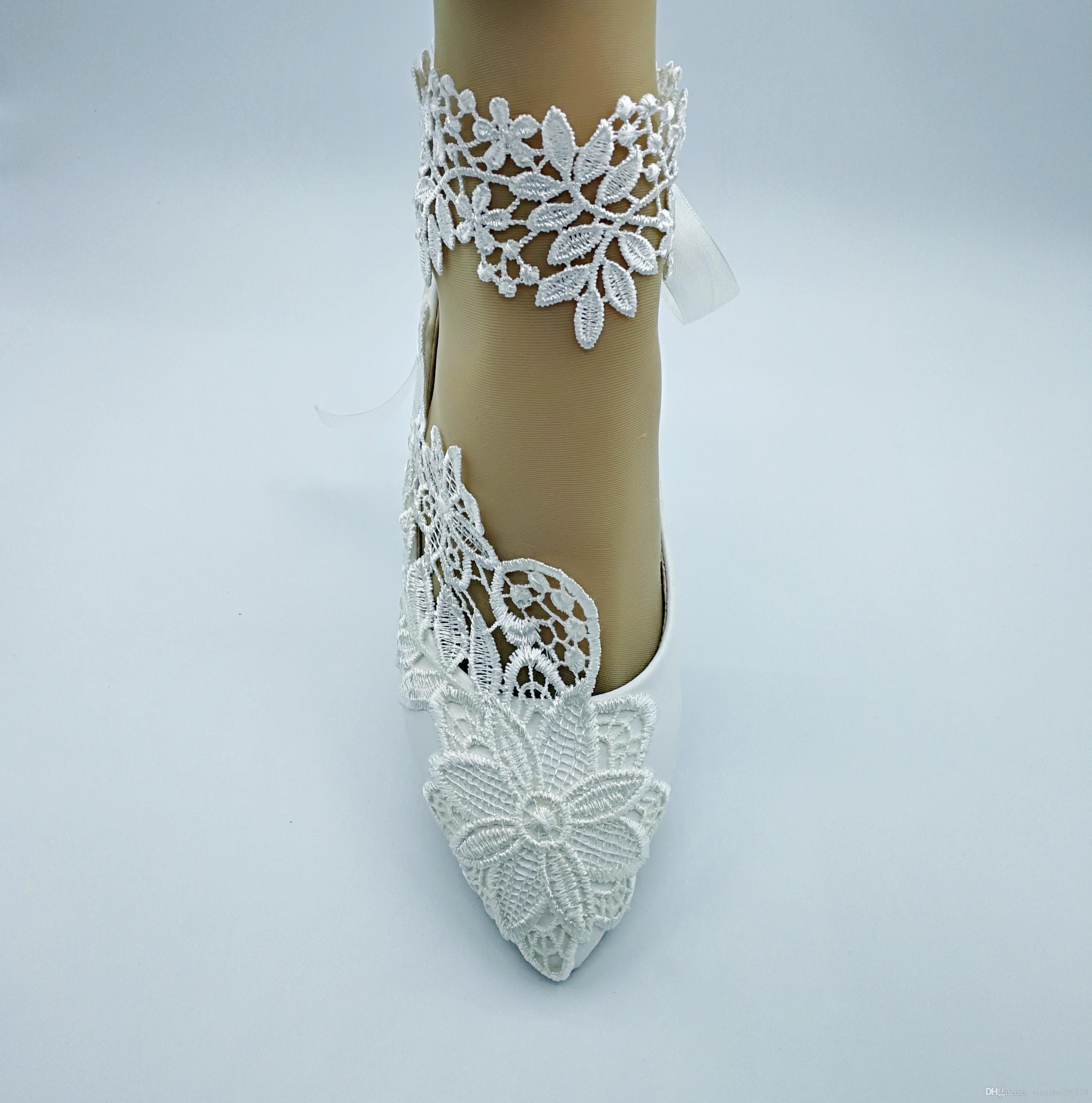 Handmade Women Fashion Ivory Wedding Shoes Flat Ballet Pearl Lace