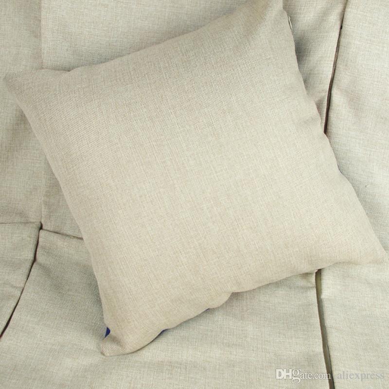 35x35cm lin naturel poly blancs de taie d'oreiller pour ébauches de broderie sublimation bricolage housse de coussin en toile de jute simple livraison gratuite