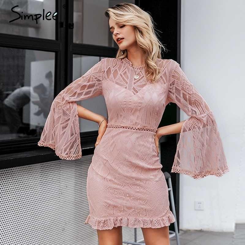 Simplee Sexy transparentes Spitzenkleid der hohen Taille der langen Hülse Mantel midi Elegante Bürodame dünnes Blumenkurzschluss-Parteikleid