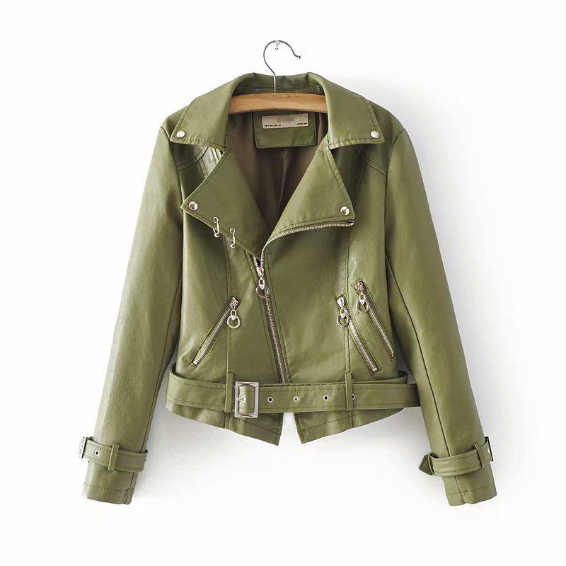 New Women Faux Leather Black Jackets with Belt Ladies Moto-bikers Green Short PU Jacket Womens Streetwear Punk Slim Coats Girls
