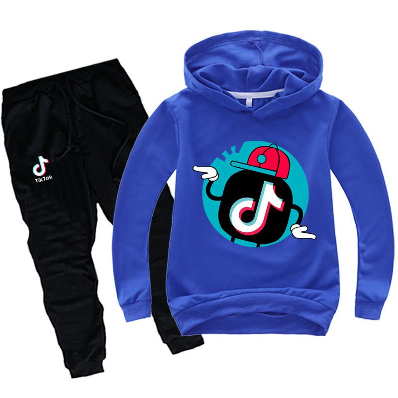 Tik Tok Vêtements enfants Set Garçons Filles TikTok adolescents Survêtement Sport Costume ados Sweat-shirts Pantalons Hip Hop Vêtements