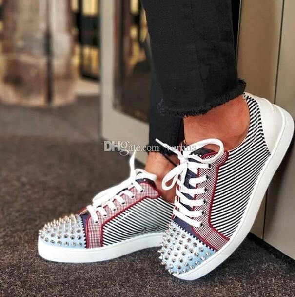 19S Vetro Metal Junior Spikes Orlato Flat Patent Leather Round-toe Red Bottom Sneakers Low Top Fashion Lightweight Breathable Casual Sports