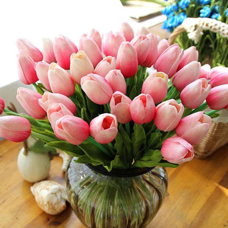 31pcs / lot de la PU falsos artificiales ramo de flores de tulipán real de Flores para la fiesta de la boda decoración del hogar Flor SH190920