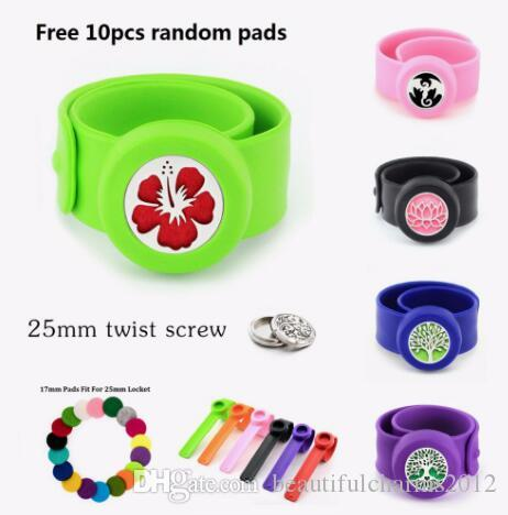 1 PCS anti-moustiques diffuseur Bracelet Patte Chat Arbre de Famille S.S 25mm Twist Vis Médaillon Silicone Bracelet Bracelet 10 P Pads Femmes Enfants Cadeau