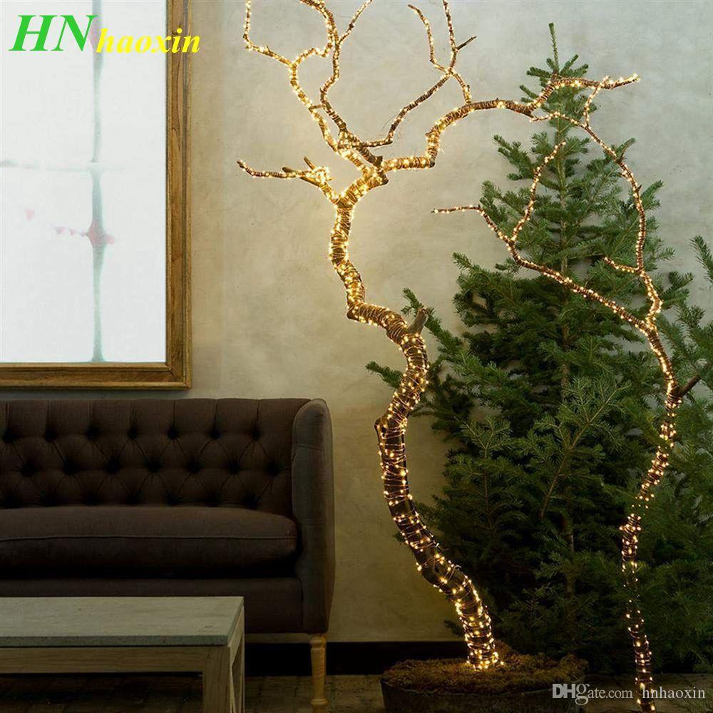 HaoXin LED 방수 나무 포도 나무 분기 구리 와이어 요정 문자열 조명 휴일 파티 웨딩 조명 DC 12 볼트 2A 어댑터